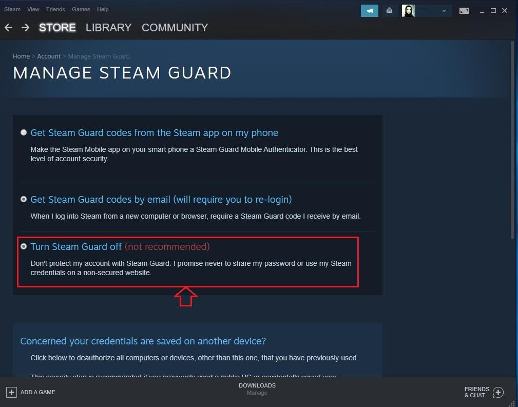 خاموش کردن steam guard